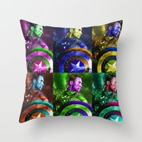 popart Throw Pillows featuring Cap PopArt by KP Designs