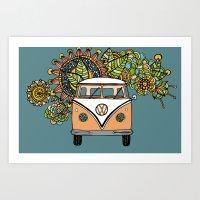 vw bus Art Prints featuring VW bus by Woosah