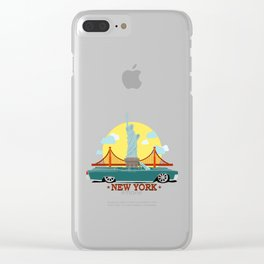 Cabriolet car on the background of the Statue of Liberty and Golden Gate Bridge Clear iPhone Case