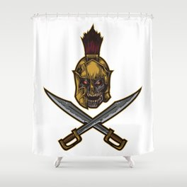 Spartan Warrior | Sparta Greek Fighter Skull Sword Shower Curtain