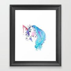 Cabin In the Woods Unicorn Framed Art Print