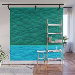 Quilted Sky Blue and Green Two Toned Pattern Wall Mural