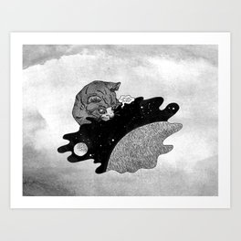 Space and the Cat Art Print