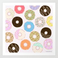 donuts Art Prints featuring Donuts by Alexandra Aguilar