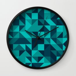 The bottom of the ocean - Random triangle pattern in shades of blue and turquoise  Wall Clock