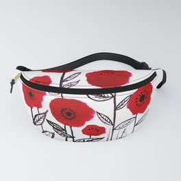 Tall poppies and red bird Fanny Pack