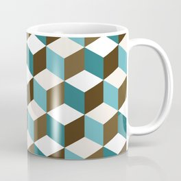 Cubes Pattern Teals Browns Cream White Coffee Mug