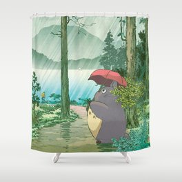 Anime and vintage japanese woodblock mashup Shower Curtain