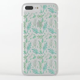 Baesic Watercolor Leaves Clear iPhone Case