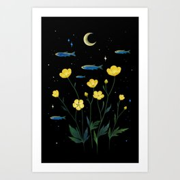 Flowers and Fish Art Print