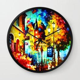Tardis Street Art Painting Starry Night Wall Clock