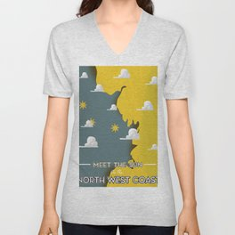 Meet the Sun on the North West Coast Unisex V-Neck