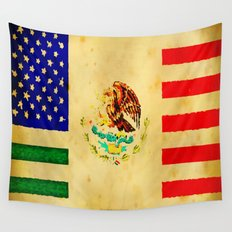 MEXICAN AMERICAN FLAG - 017 Wall Tapestry