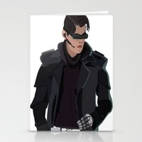 cyberpunk Stationery Cards featuring Cyberpunk Male Character by Jude Beavis