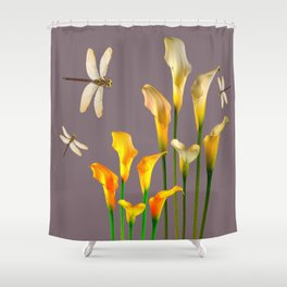 GOLD CALLA LILIES & DRAGONFLIES ON GREY Shower Curtain