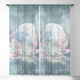 Beautiful Succulents Full Moon Teal Pink Sheer Curtain