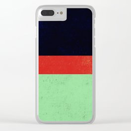Navy, red and mint design Clear iPhone Case