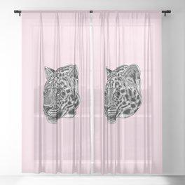 Amur leopard cub - pink - big cat Sheer Curtain
