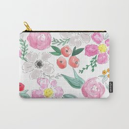 Floral Peony and Rose Watercolor Print  Carry-All Pouch