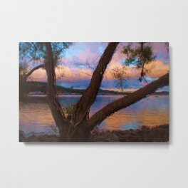 Ozark Sunrise Digital Watercolor Pastels Painting Metal Print