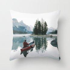 Morning paddle at Spirit Island Throw Pillow