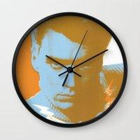 clint barton Wall Clocks featuring clint by zemoamerica