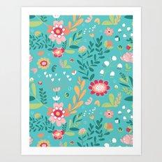 Teal Garden Hearts Art Print