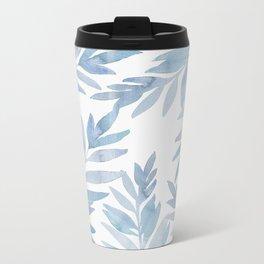 Muted Blue Palm Leaves Metal Travel Mug