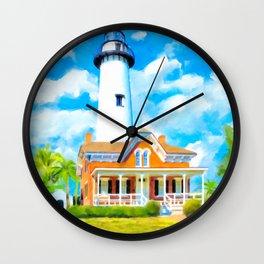St Simons Island Lighthouse - Georgia Coast Art Wall Clock