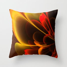 Stylized Half Flower Red Throw Pillow