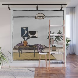Living Room with Ficus Tree Wall Mural