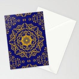 golden mandala pattern on the dark blue background Stationery Cards