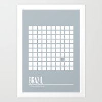 brazil Art Prints featuring Brazil by Supereye
