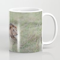 lion king Mugs featuring Lion king by P. Kurt Thorderson
