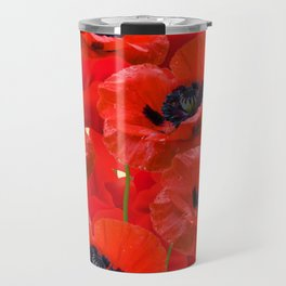 RED ORIENTAL POPPIES ON CREAM COLOR Travel Mug