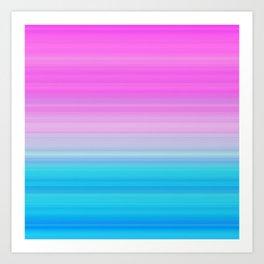 Pink & Aquamarine Blue Stripes Art Print