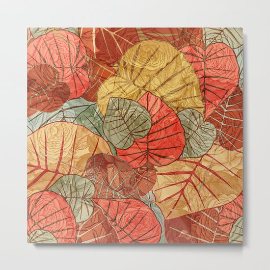 Leaves in Rosy Background 4 Metal Print