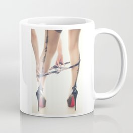 Sexy Woman in Heels and Whip Me, Bite Me, Eat Me, Tease Me, Nylons Coffee Mug