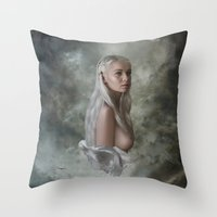 mother of dragons Throw Pillows featuring Mother of Dragons by Flo Tucci