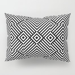 Op art pattern with black white rhombuses Pillow Sham