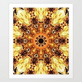 Yellow Brown Mandala Abstract Flower Art Print