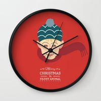 home alone Wall Clocks featuring Home alone Kevin by Gary  Ralphs Illustrations