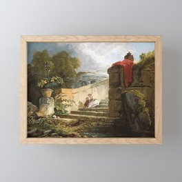 Hubert Robert - A Scene in the Grounds of the Villa Farnese, Rome Framed Mini Art Print