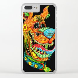 Trippy Dog Clear iPhone Case
