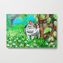 Summer Time Curious Cat Metal Print