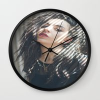 charli xcx Wall Clocks featuring Superlove ~ Charli XCX by Michelle Rosario