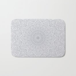 Most Detailed Mandala! Cool Gray White Color Intricate Detail Ethnic Mandalas Zentangle Maze Pattern Bath Mat