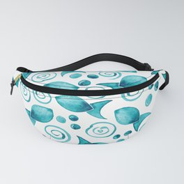Little Fish + Spirals Pattern In Teal Fanny Pack