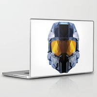 master chief Laptop & iPad Skins featuring Geometric Master Chief - Halo  by Something a Little Awesome