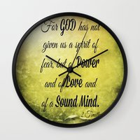 scripture Wall Clocks featuring Scripture 2 Timothy 1:7 by bjcarrigan